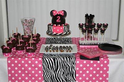 Minnie Mouse Zebra bolo