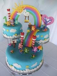 bolo arco iris aniversario