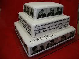 bolo casamento com fotografias