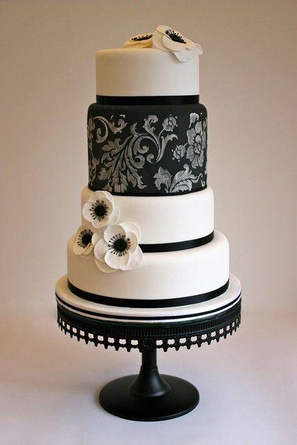 bolo casamento noiva preto branco 10