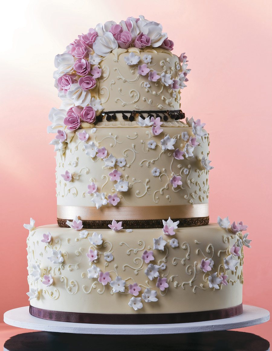 bolo de noiva flores