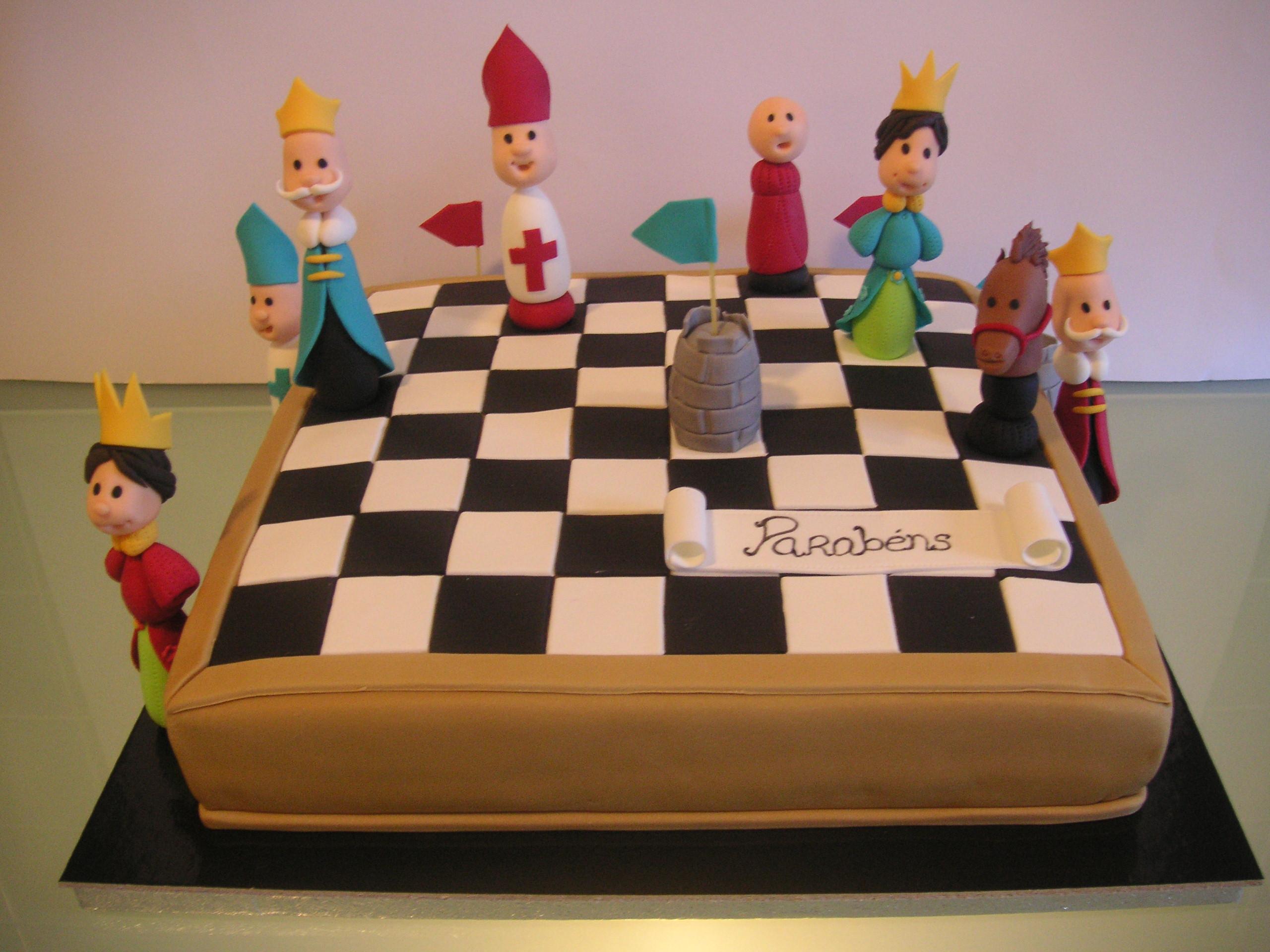 bolo de xadrez decorado