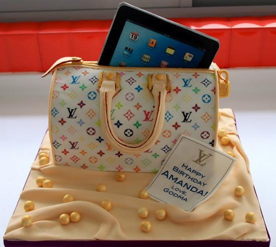 bolo decorado bolsa moda tablet