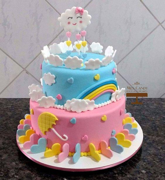 bolo decorado chuva amor 4