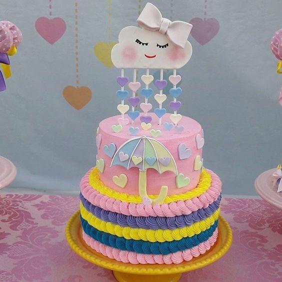 bolo decorado chuva amor 5