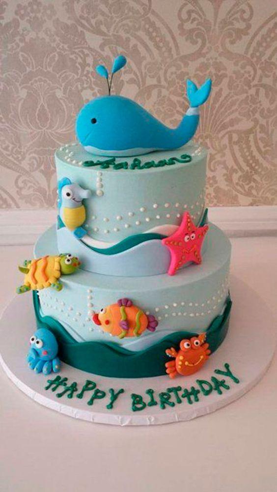 bolo decorado fundo mar 2