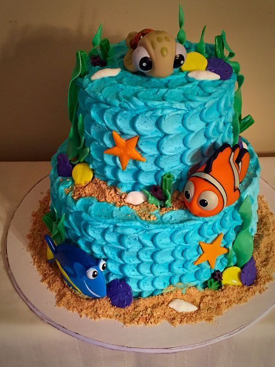 bolo decorado fundo mar 7