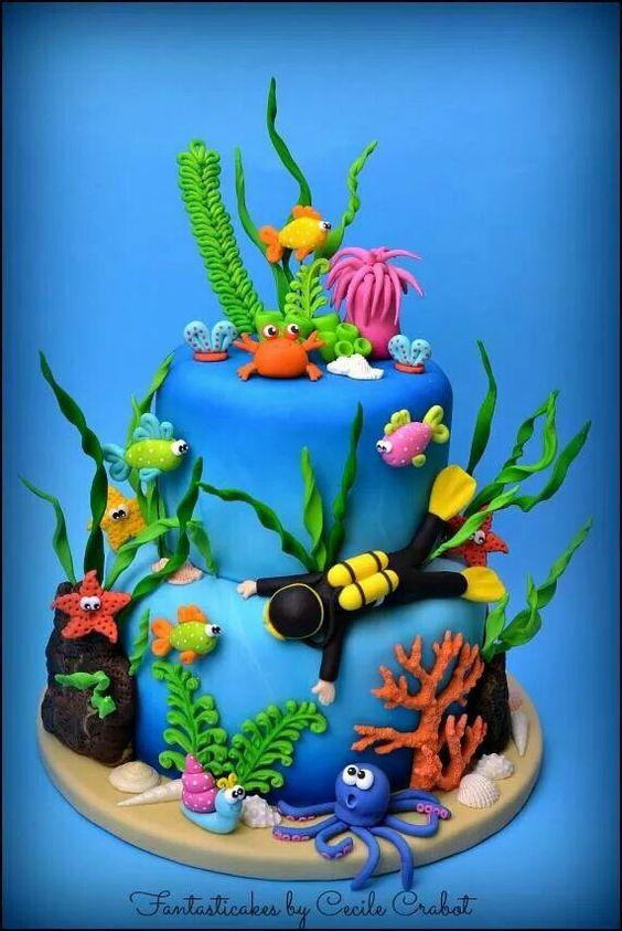 bolo decorado fundo mar 9