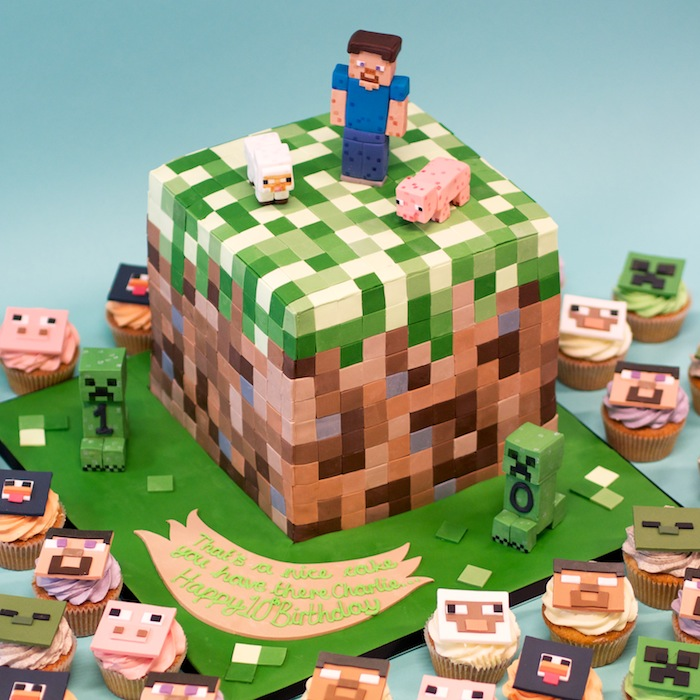 bolo e cupcakes minecraft