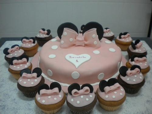 bolo minnie cupcakes