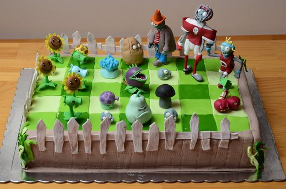 bolos decorados Plants vs Zombies