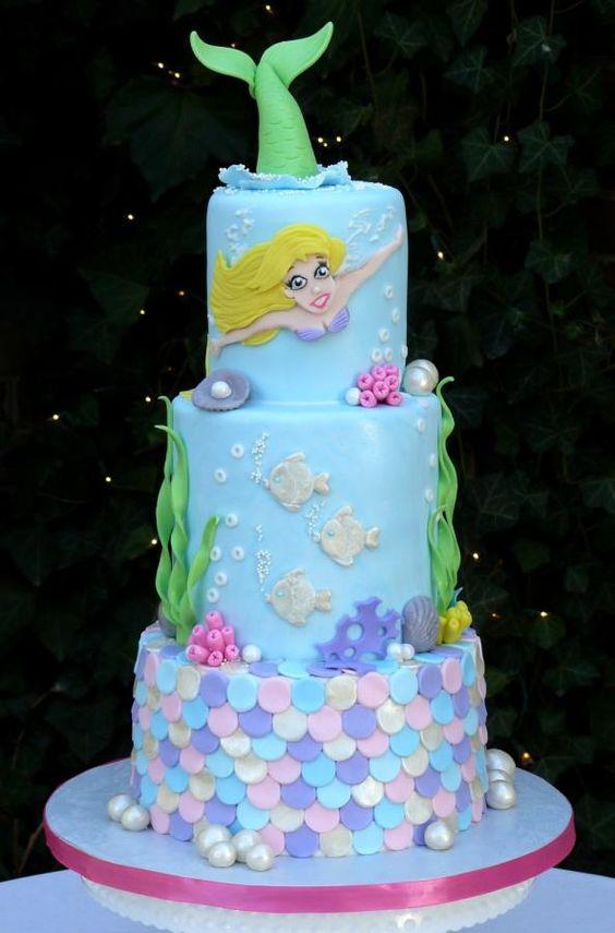 bolos decorados de sereia